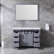 "Lexora Marsyas 48"" Dark Grey Single Vanity, White Carrara Marble Top, White Square Sink and 44"" Mirror w/ Faucet"