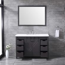 "Lexora Marsyas 48"" Brown Single Vanity, White Quartz Top, White Square Sink and 44"" Mirror w/ Faucet"