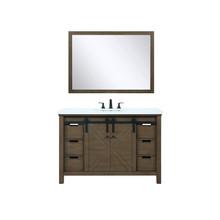 "Lexora Marsyas 48"" Rustic Brown Single Vanity, White Quartz Top, White Square Sink and 44"" Mirror w/ Faucet"