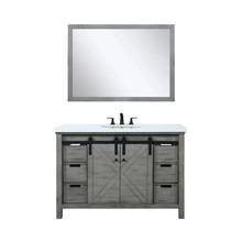 "Lexora Marsyas 48"" Ash Grey Single Vanity, White Quartz Top, White Square Sink and 44"" Mirror w/ Faucet"
