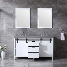 "Lexora Marsyas 60"" White Double Vanity, Grey Quartz Top, White Square Sinks and 24"" Mirrors w/ Faucets"