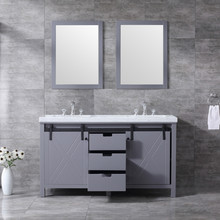 """Lexora Marsyas 60"""" Dark Grey Double Vanity, White Carrara Marble Top, White Square Sinks and 24"""" Mirrors w/ Faucets"""