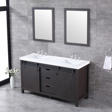 "Lexora Marsyas 60"" Brown Double Vanity, White Quartz Top, White Square Sinks and 24"" Mirrors w/ Faucets"