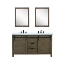 """Lexora Marsyas 60"""" Rustic Brown Double Vanity, White Quartz Top, White Square Sinks and 24"""" Mirrors w/ Faucets"""