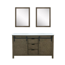 "Lexora Marsyas 60"" Rustic Brown Double Vanity, White Quartz Top, White Square Sinks and 24"" Mirrors"