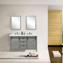 "Lexora Marsyas 60"" Ash Grey Double Vanity, White Quartz Top, White Square Sinks and 24"" Mirrors w/ Faucets"