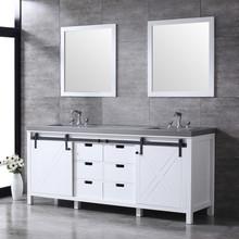 "Lexora Marsyas 80"" White Double Vanity, Grey Quartz Top, White Square Sinks and 30"" Mirrors w/ Faucets"
