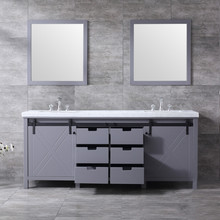 """Lexora Marsyas 80"""" Dark Grey Double Vanity, White Carrara Marble Top, White Square Sinks and 30"""" Mirrors w/ Faucets"""