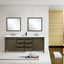 """Lexora Marsyas 80"""" Rustic Brown Double Vanity, White Quartz Top, White Square Sinks and 30"""" Mirrors w/ Faucets"""