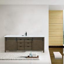"Lexora Marsyas 80"" Rustic Brown Double Vanity, White Quartz Top, White Square Sinks and no Mirror"