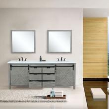"Lexora Marsyas 80"" Ash Grey Double Vanity Ash Grey, White Quartz Top, White Square Sinks and 30"" Mirrors w/ Faucets"