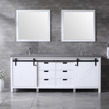 "Lexora Marsyas 84"" White Double Vanity, Grey Quartz Top, White Square Sinks and 34"" Mirrors w/ Faucets"