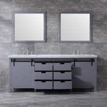 """Lexora Marsyas 84"""" Dark Grey Double Vanity, White Carrara Marble Top, White Square Sinks and 34"""" Mirrors w/ Faucets"""