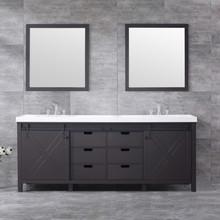 "Lexora Marsyas 84"" Brown Double Vanity, White Quartz Top, White Square Sinks and 34"" Mirrors w/ Faucets"