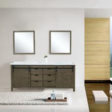 "Lexora Marsyas 84"" Rustic Brown Double Vanity, White Quartz Top, White Square Sinks and 34"" Mirrors"