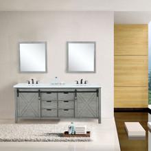 "Lexora Marsyas 84"" Ash Grey Double Vanity, White Quartz Top, White Square Sinks and 34"" Mirrors w/ Faucets"
