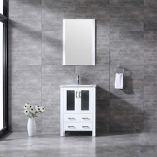 """Lexora Volez 24"""" White Single Vanity, Integrated Top, White Integrated Square Sink and 22"""" Mirror w/ Faucet"""