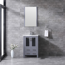 """Lexora Volez 24"""" Dark Grey Single Vanity, Integrated Top, White Integrated Square Sink and 22"""" Mirror w/ Faucet"""