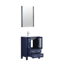 """Lexora Volez 24"""" Navy Blue Single Vanity, Integrated Top, White Integrated Square Sink and 22"""" Mirror w/ Faucet"""