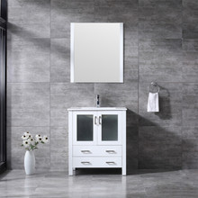 """Lexora Volez 30"""" White Single Vanity, Integrated Top, White Integrated Square Sink and 28"""" Mirror w/ Faucet"""