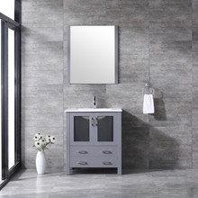 """Lexora Volez 30"""" Dark Grey Single Vanity, Integrated Top, White Integrated Square Sink and 28"""" Mirror w/ Faucet"""