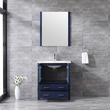 """Lexora Volez 30"""" Navy Blue Single Vanity, Integrated Top, White Integrated Square Sink and 28"""" Mirror w/ Faucet"""
