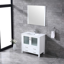 """Lexora Volez 36"""" White Single Vanity, Integrated Top, White Integrated Square Sink and 34"""" Mirror w/ Faucet"""