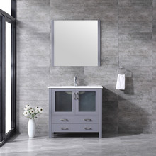 """Lexora Volez 36"""" Dark Grey Single Vanity, Integrated Top, White Integrated Square Sink and 34"""" Mirror w/ Faucet"""