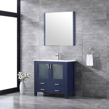 """Lexora Volez 36"""" Navy Blue Single Vanity, Integrated Top, White Integrated Square Sink and 34"""" Mirror w/ Faucet"""