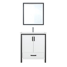 """Lexora Ziva 30"""" White Single Vanity, Cultured Marble Top, White Square Sink and 28"""" Mirror w/ Faucet"""