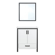 """Lexora Ziva 30"""" White Single Vanity, Cultured Marble Top, White Square Sink and 28"""" Mirror"""