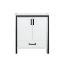 """Lexora Ziva 30"""" White Single Vanity, Cultured Marble Top, White Square Sink and no Mirror"""