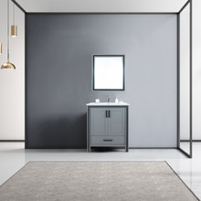 """Lexora Ziva 30"""" Dark Grey Single Vanity, Cultured Marble Top, White Square Sink and 28"""" Mirror w/ Faucet"""