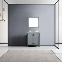 "Lexora Ziva 30"" Dark Grey Single Vanity, Cultured Marble Top, White Square Sink and 28"" Mirror"