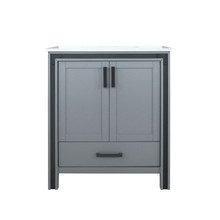 "Lexora Ziva 30"" Dark Grey Single Vanity, Cultured Marble Top, White Square Sink and no Mirror"