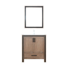 """Lexora Ziva 30"""" Rustic Barnwood Single Vanity, Cultured Marble Top, White Square Sink and 28"""" Mirror w/ Faucet"""