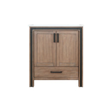 """Lexora Ziva 30"""" Rustic Barnwood Single Vanity, Cultured Marble Top, White Square Sink and no Mirror"""