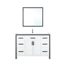 """Lexora Ziva 48"""" White Single Vanity, Cultured Marble Top, White Square Sink and 34"""" Mirror w/ Faucet"""