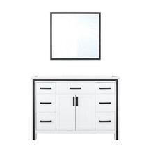 """Lexora Ziva 48"""" White Single Vanity, Cultured Marble Top, White Square Sink and 34"""" Mirror"""