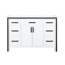 """Lexora Ziva 48"""" White Single Vanity, Cultured Marble Top, White Square Sink and no Mirror"""