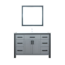 """Lexora Ziva 48"""" Dark Grey Single Vanity, Cultured Marble Top, White Square Sink and 34"""" Mirror w/ Faucet"""