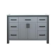 "Lexora Ziva 48"" Dark Grey Single Vanity, Cultured Marble Top, White Square Sink and no Mirror"