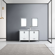 """Lexora Ziva 60"""" White Double Vanity, Cultured Marble Top, White Square Sink and 22"""" Mirrors"""