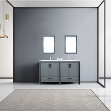 """Lexora Ziva 60"""" Dark Grey Double Vanity, Cultured Marble Top, White Square Sink and 22"""" Mirrors w/ Faucet"""