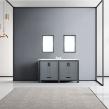 """Lexora Ziva 60"""" Dark Grey Double Vanity, Cultured Marble Top, White Square Sink and 22"""" Mirrors"""