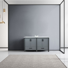 """Lexora Ziva 60"""" Dark Grey Double Vanity, Cultured Marble Top, White Square Sink and no Mirror"""