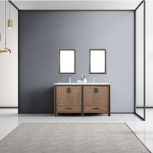 """Lexora Ziva 60"""" Rustic Barnwood Double Vanity, Cultured Marble Top, White Square Sink and 22"""" Mirrors w/ Faucet"""