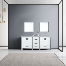 """Lexora Ziva 72"""" White Double Vanity, Cultured Marble Top, White Square Sink and 30"""" Mirrors"""
