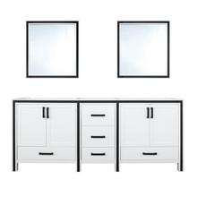 "Lexora Ziva 72"" White Double Vanity, no Top and 30"" Mirrors"