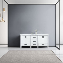 """Lexora Ziva 72"""" White Double Vanity, Cultured Marble Top, White Square Sink and no Mirror"""